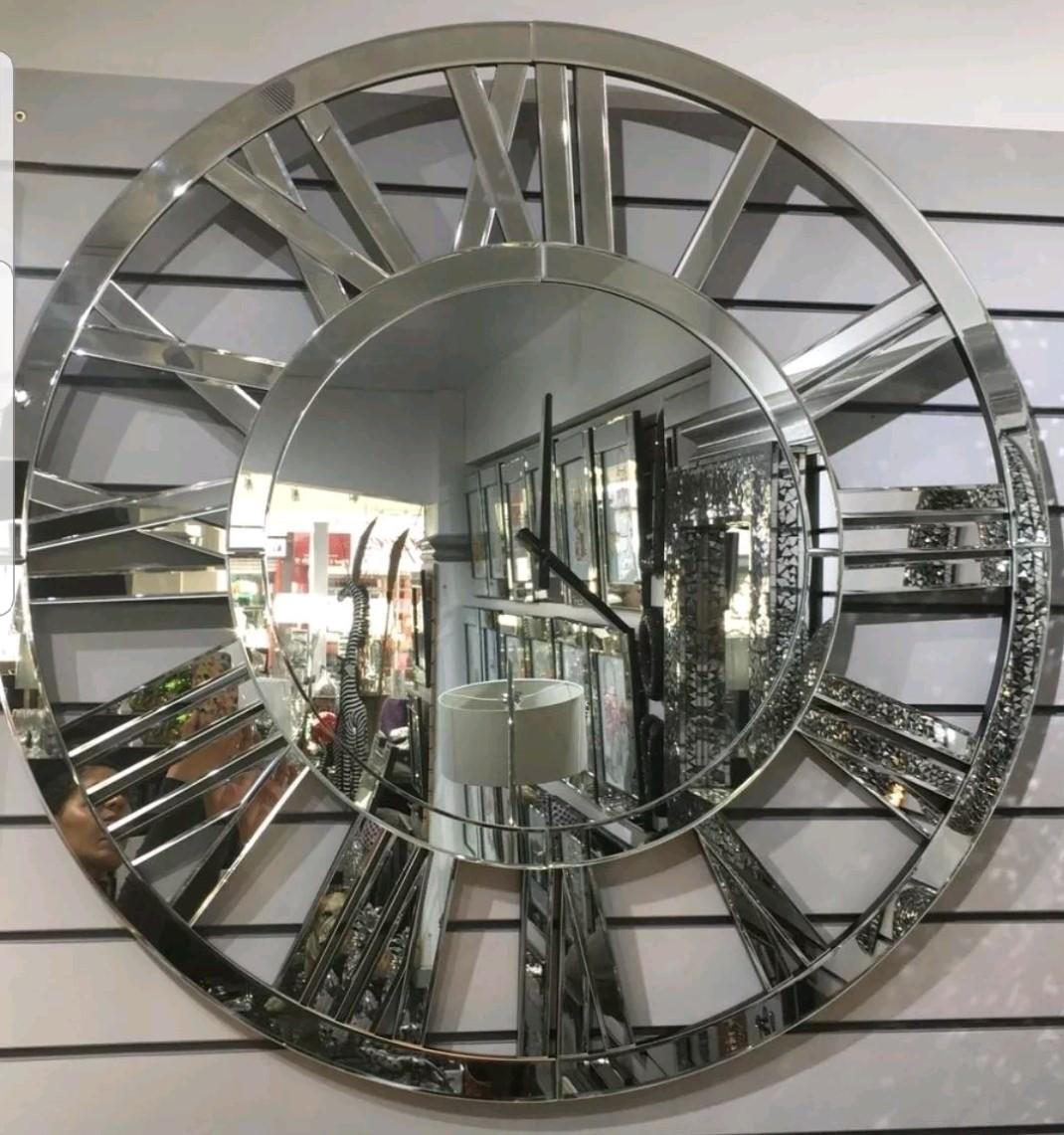 100cm Oversized Round Mirrored Statement Wall Clock