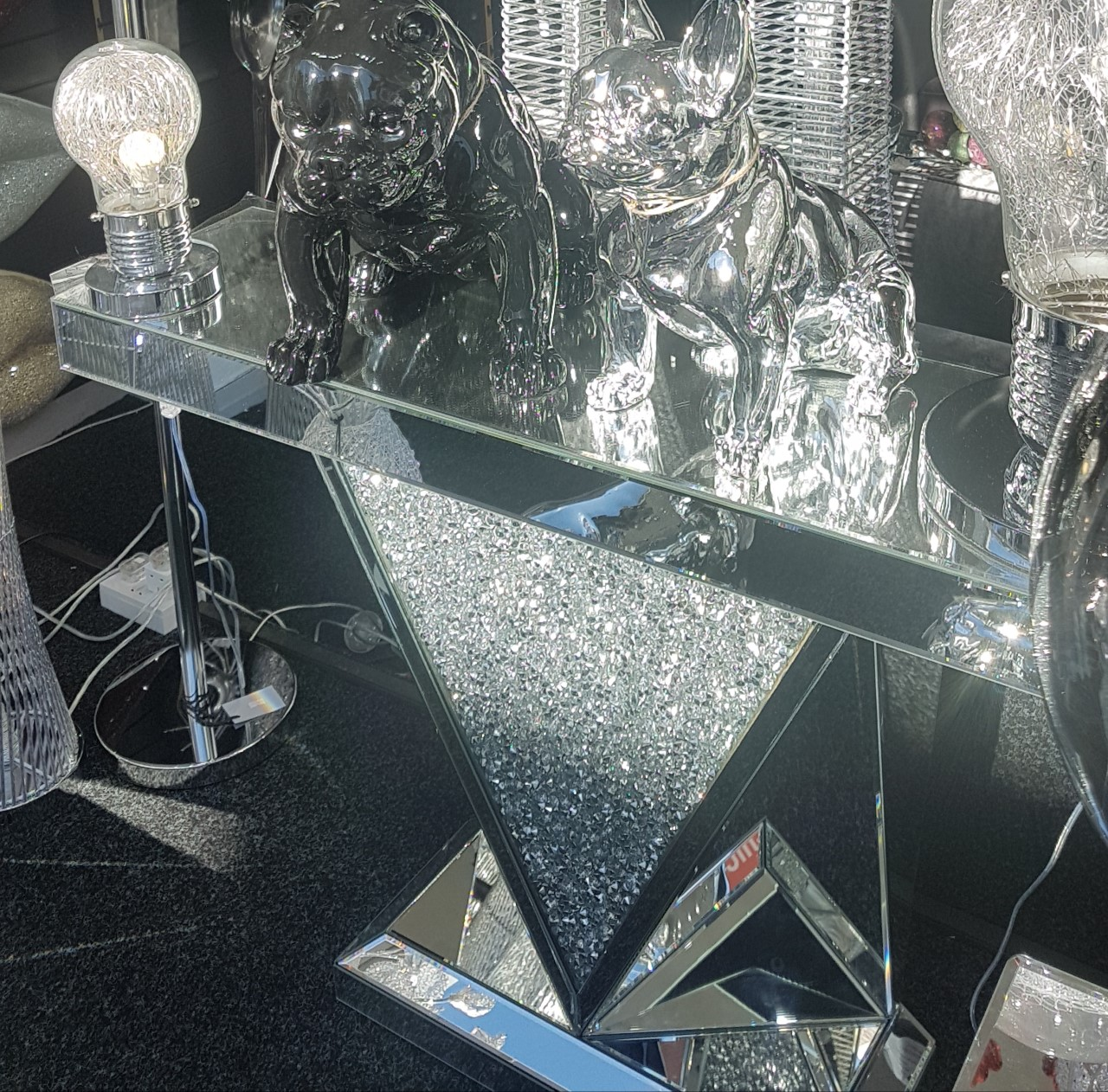 Diamond Crushed Crystal Mirrored Console Table Fusion