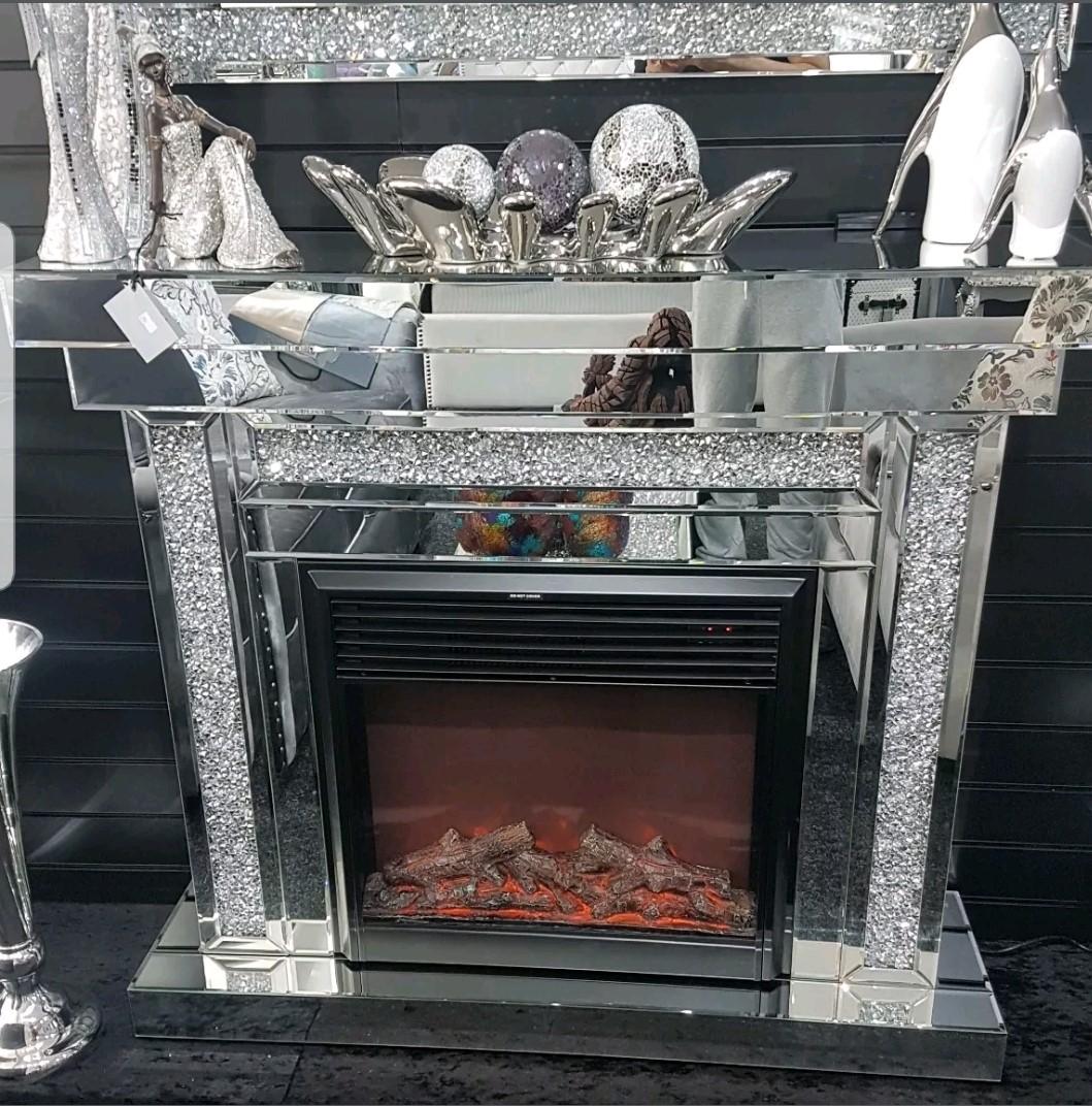 Diamond Crushed Crystal Venetian Mirrored Fireplace